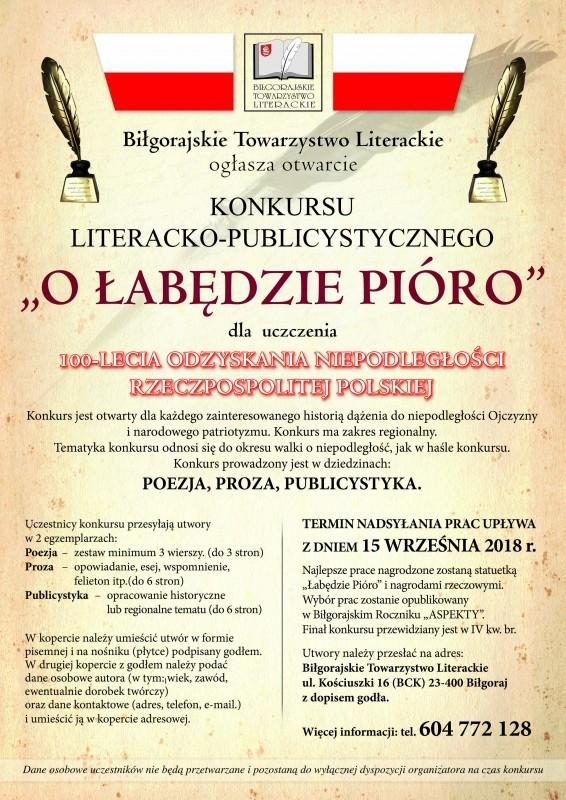 """Konkurs """"O Łabędzie Pióro"""""""