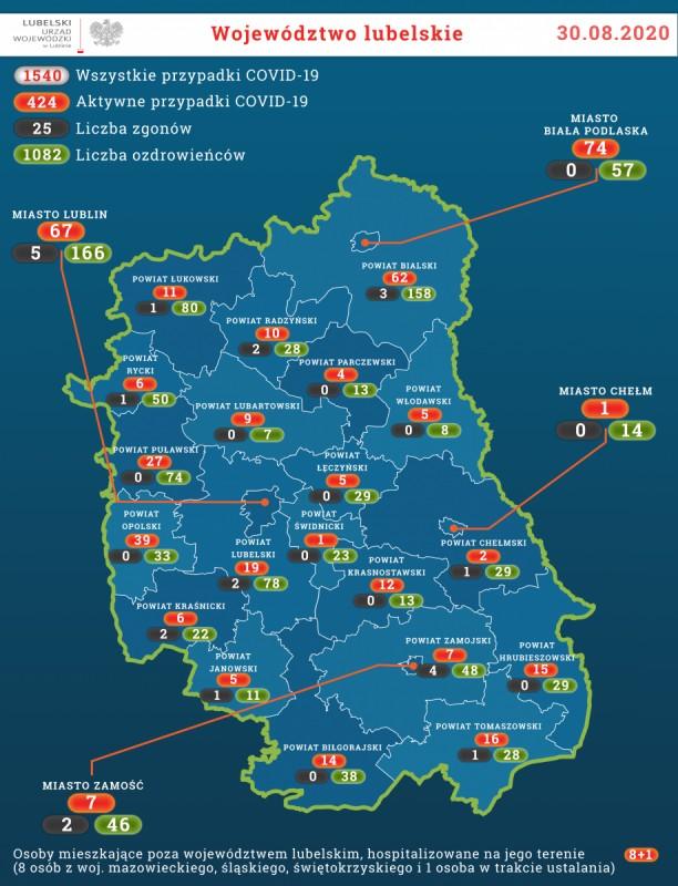 69 potwierdzonych zakażeń na Lubelszczyźnie, wtym 3 wpowiecie biłgorajskim