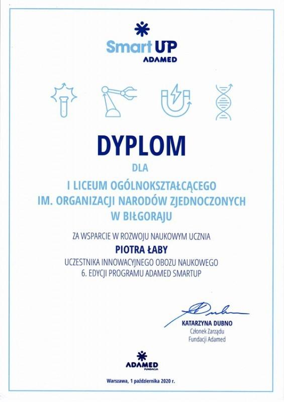 Dyplom oraz gratulacje dla ILO im. ONZ od Fundacji Adamed