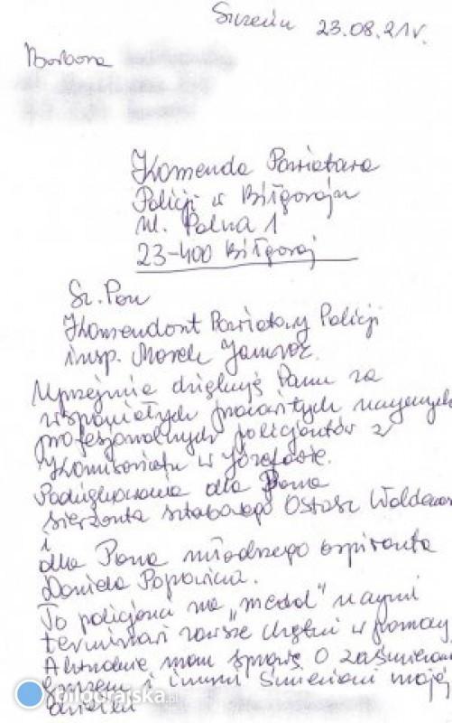 Podziękowania dla policjantów od mieszkanki Szczecina