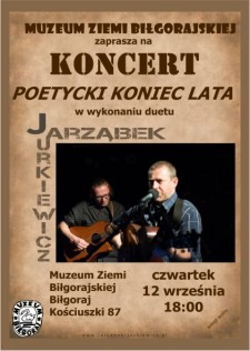 """Koncert """"POETYCKI KONIEC LATA"""" wwykonaniu Duetu Jarząbek-Jurkiewicz"""