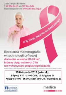 Bezpłatna mammografia wtechnologii cyfrowej
