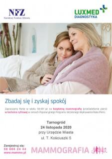 Bezpłatne badania mammograficzne wTarnogrodzie