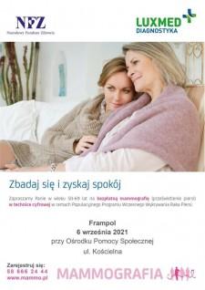 Bezpłatna mammografia wmobilnej pracowni mammograficznej we Frampolu
