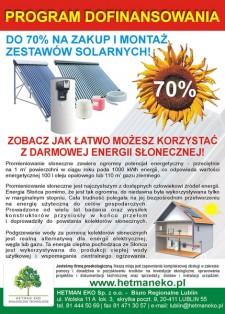 Program dofinansowania do 70% na zakup imonta� kolektor�w s�onecznych