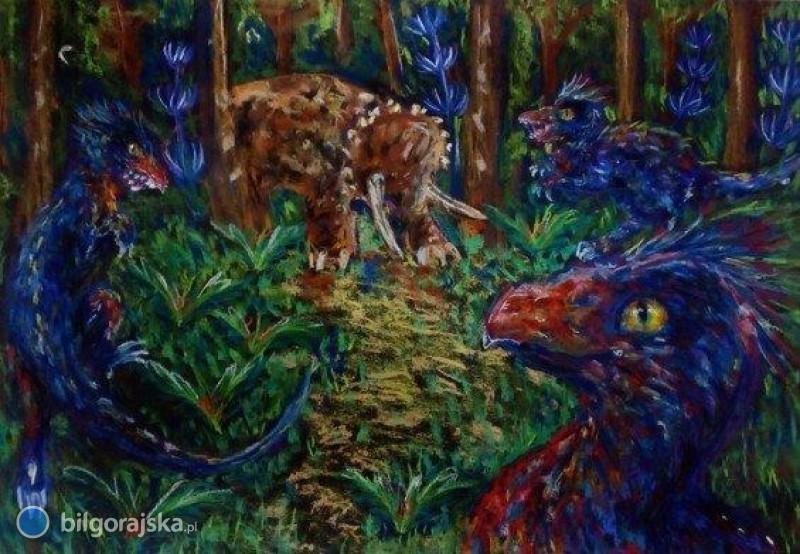 """""""Świat dinozaurów"""" woczach młodych artystek"""