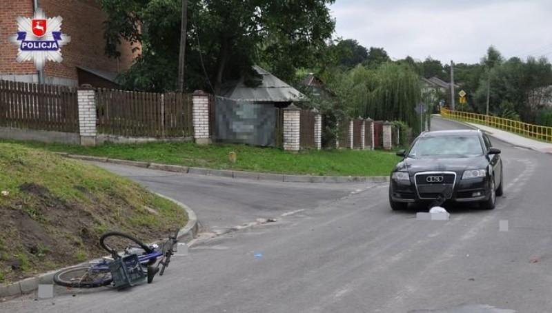 Wypadek zudziałem rowerzystki