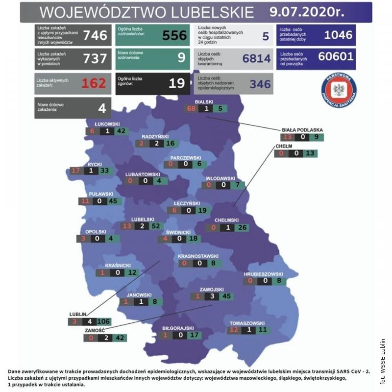 Nowe zakażenia SARS-CoV-2 na Lubelszczyźnie