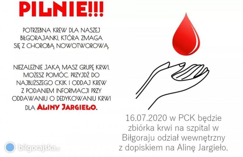 Pilnie potrzebna krew dla mieszkanki Biłgoraja