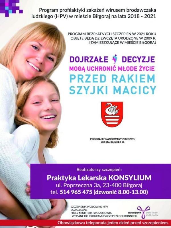 Bezpłatne szczepienia przeciw HPV wBiłgoraju