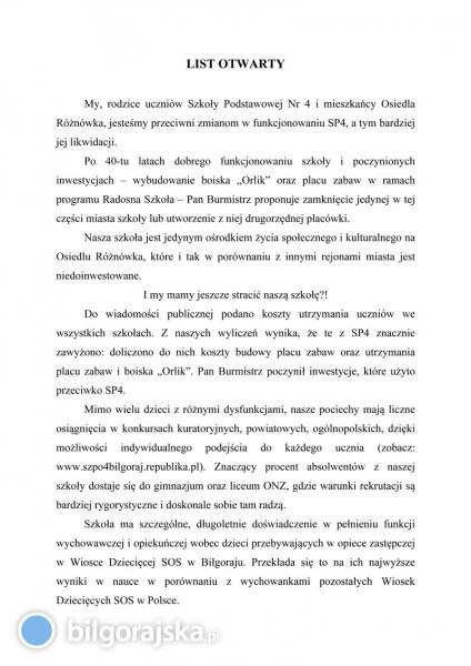 List Otwarty wsprawie Szkoły Podstawowej Nr 4